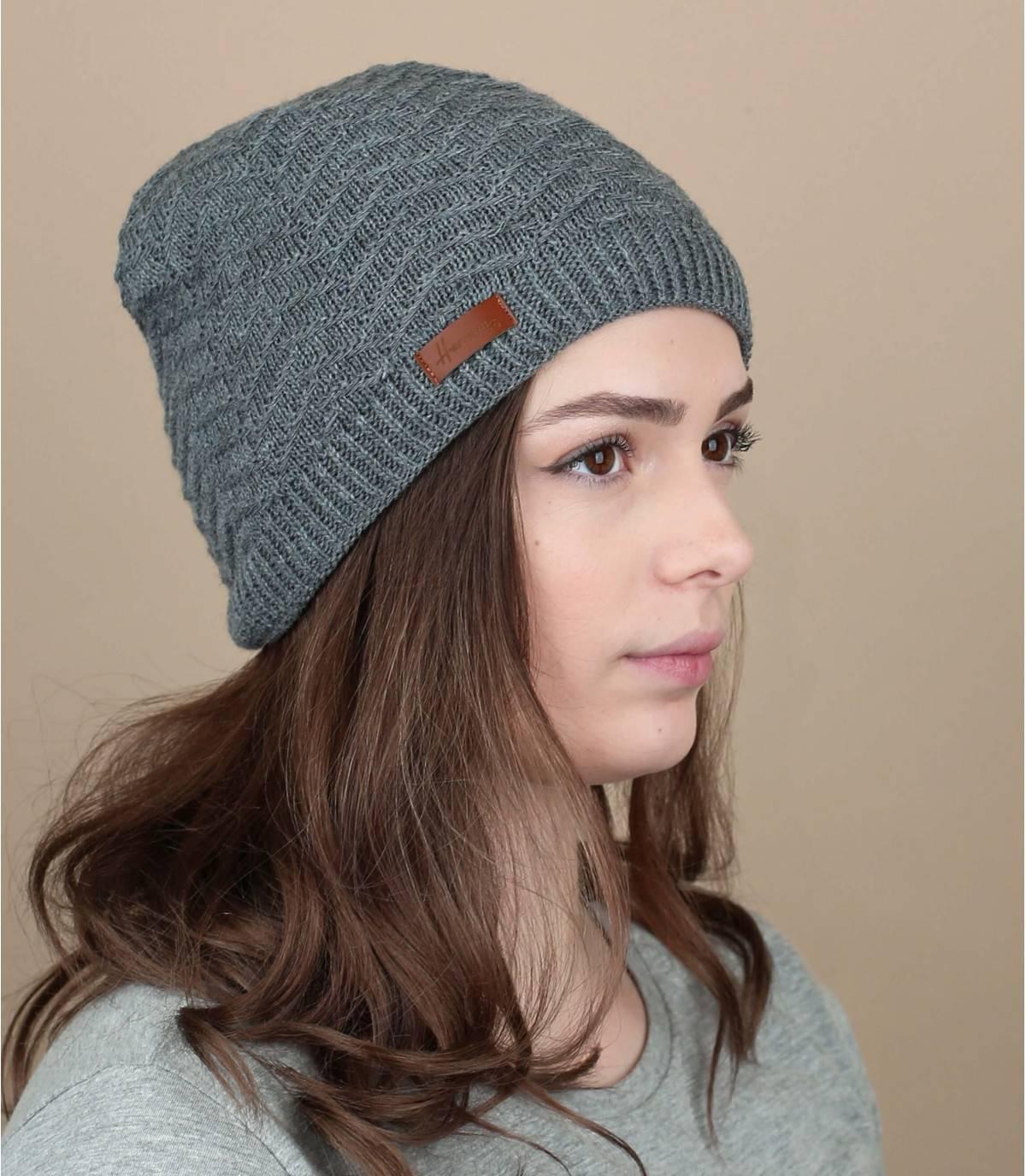 Mütze grau Zickzackornament