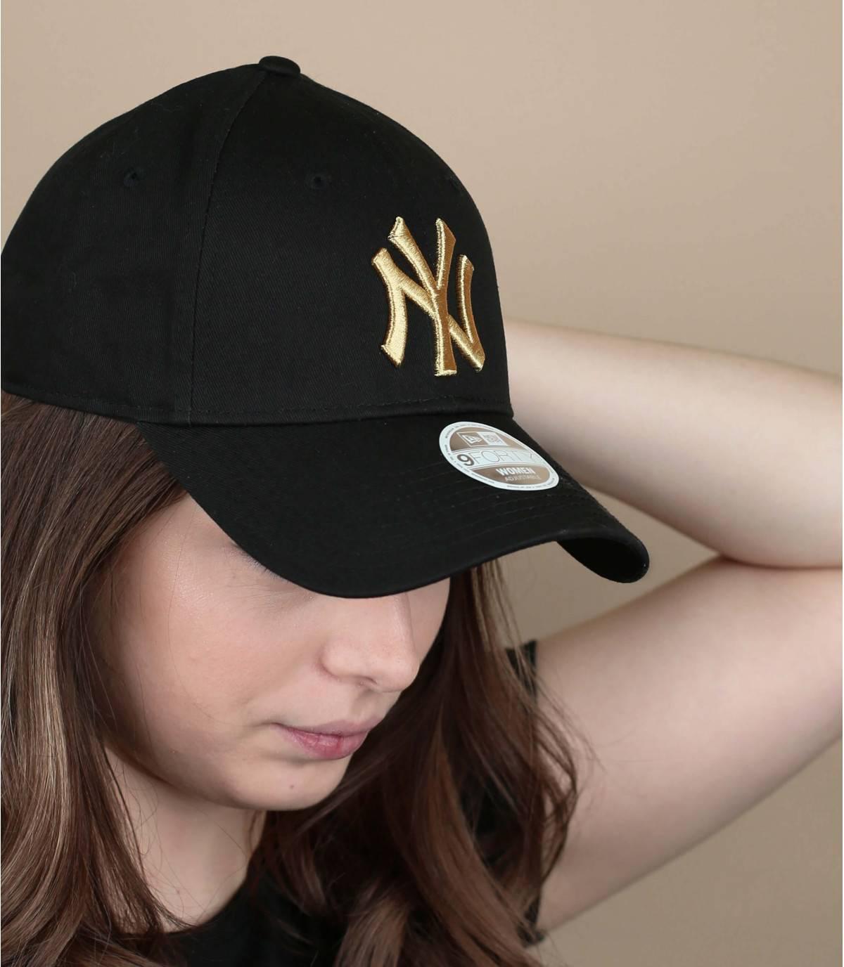 Damen Cap schwarz Gold