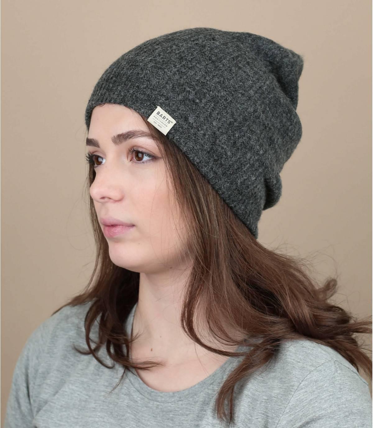 Lange Mütze grau