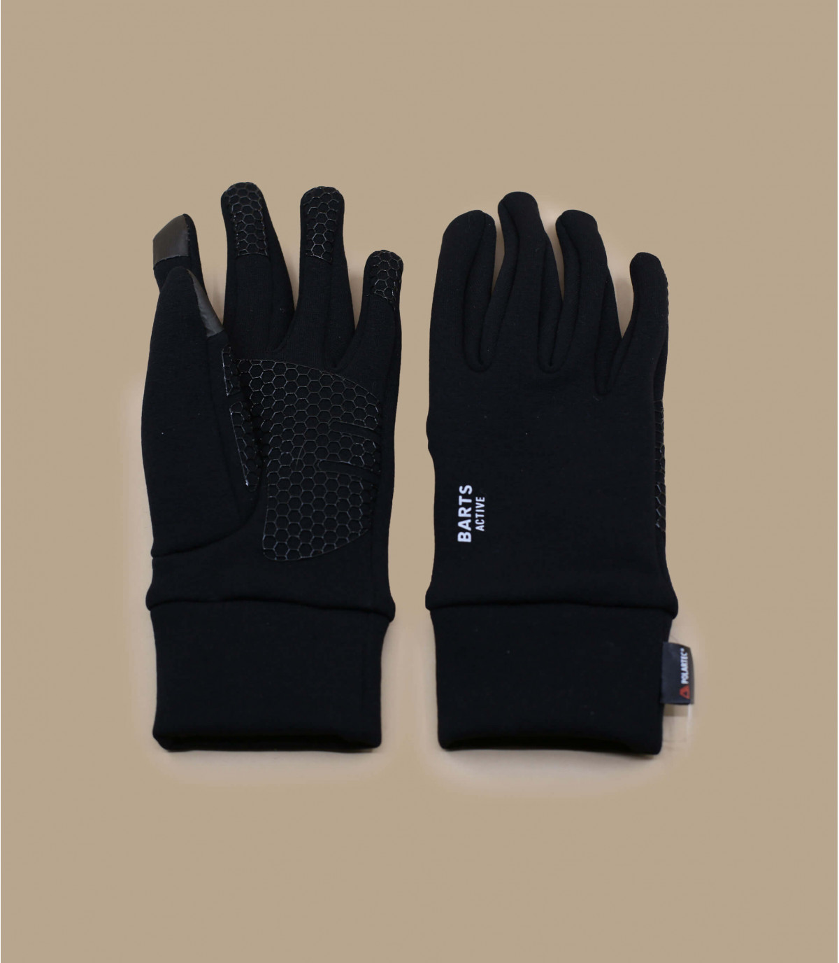 Details Fein gestrickte Smartphone Schwarze Handschuhe - Abbildung 2