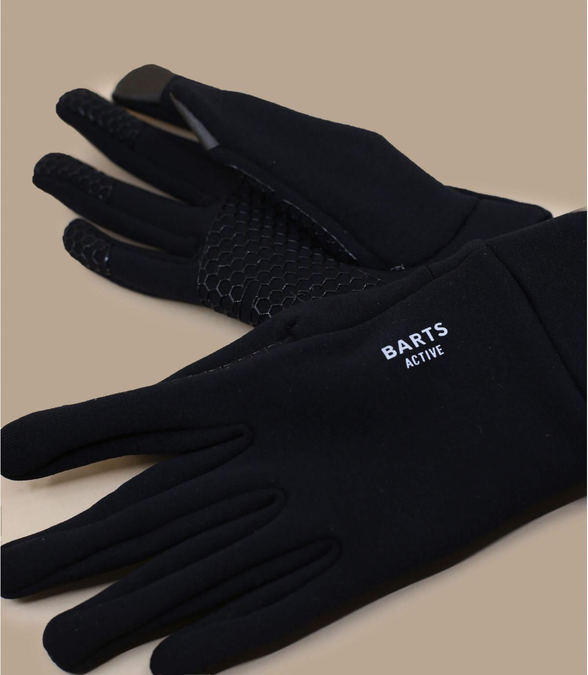 Details Fein gestrickte Smartphone Schwarze Handschuhe - Abbildung 3