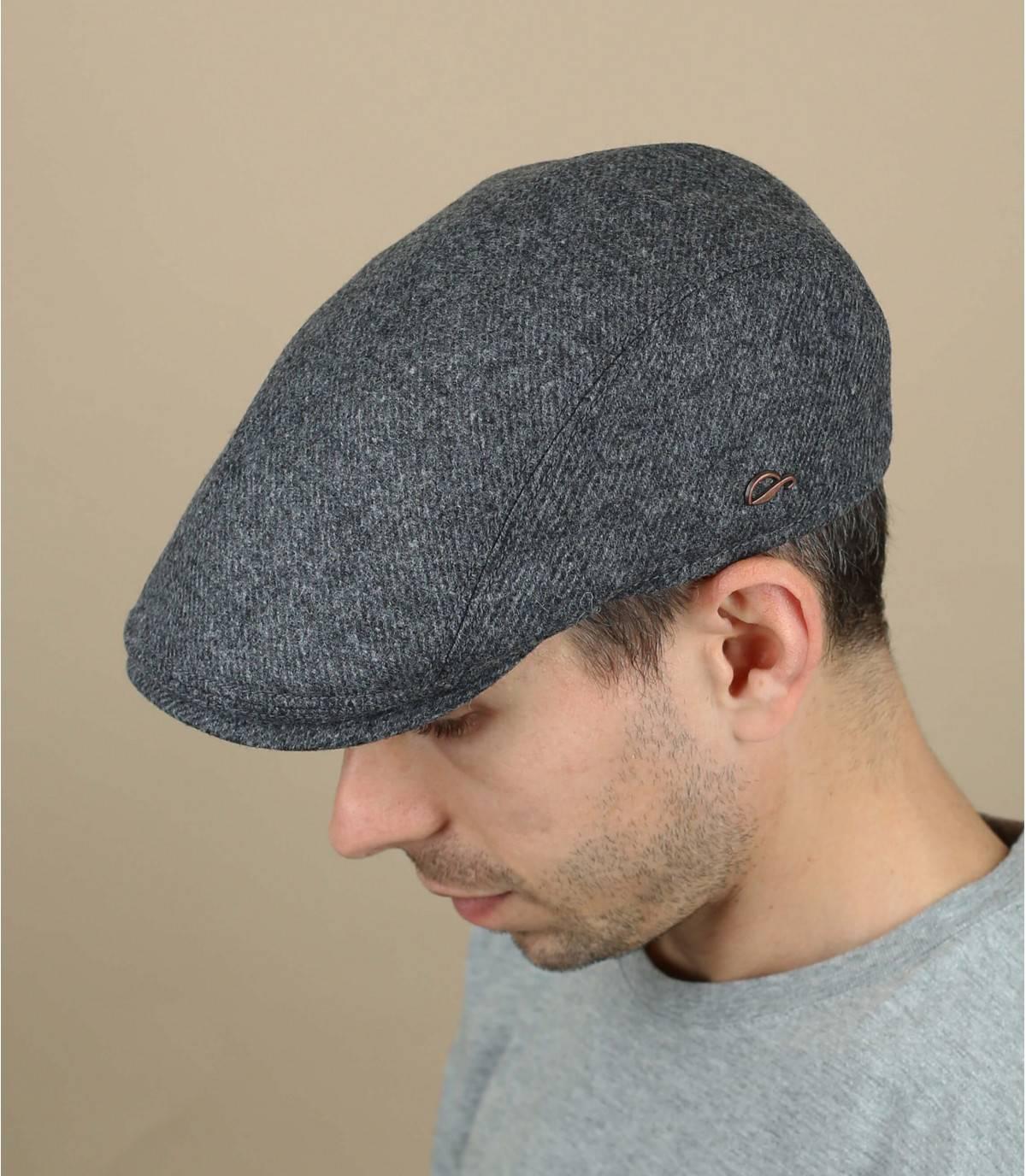 Flatcap Wolle grau