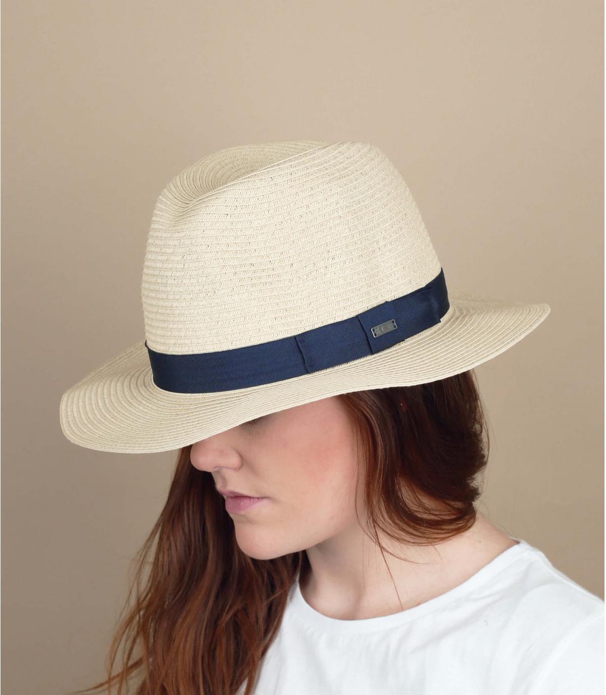 Strohhut beige Band blau