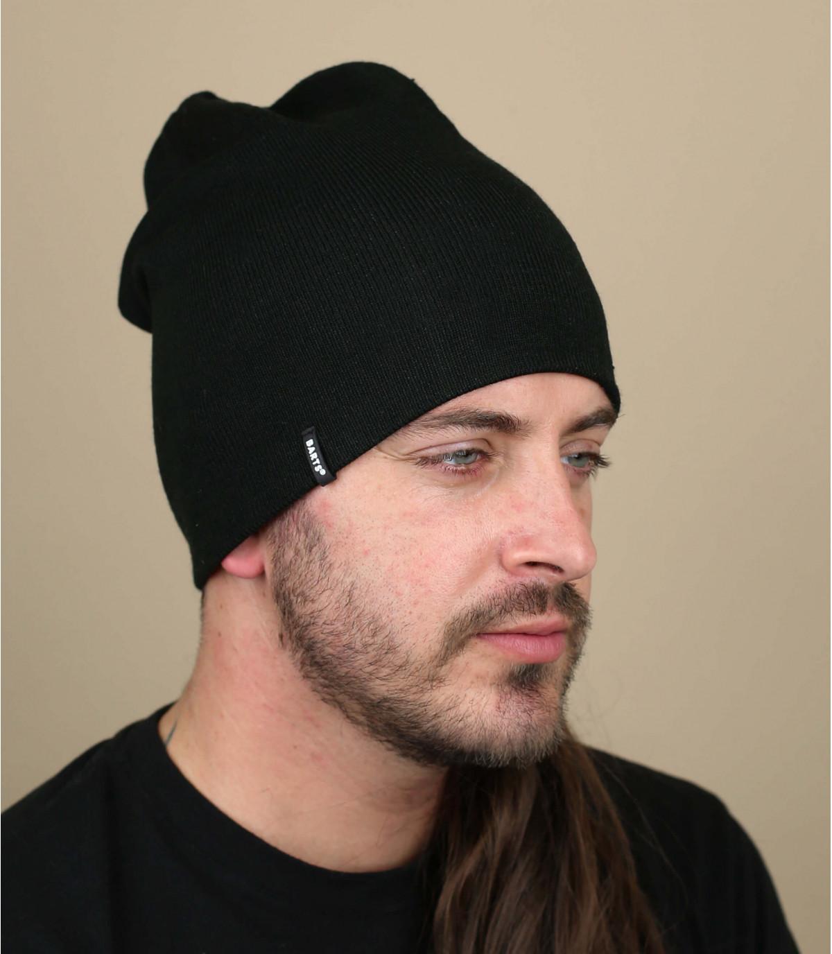 Oversize Mütze schwarz beidseitig tragbar