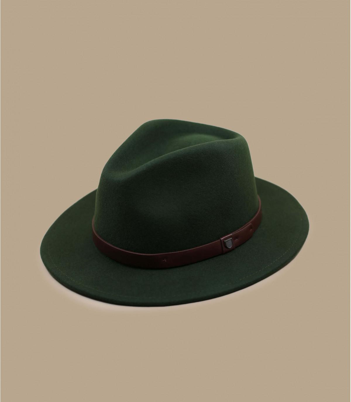Fedora Filzhut grün Lederband vert bande cuir