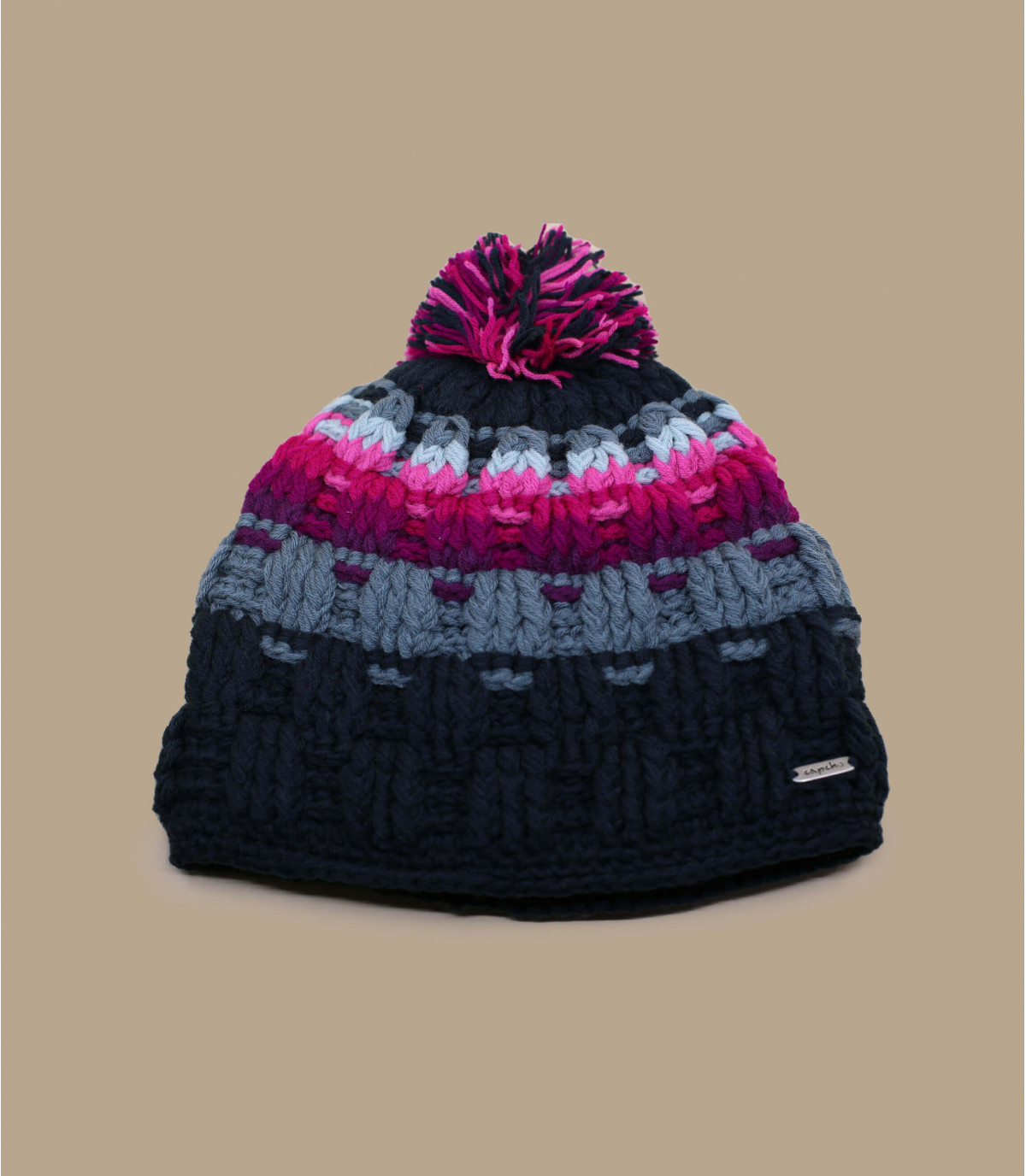 Bommelmütze Streifen rosa grau