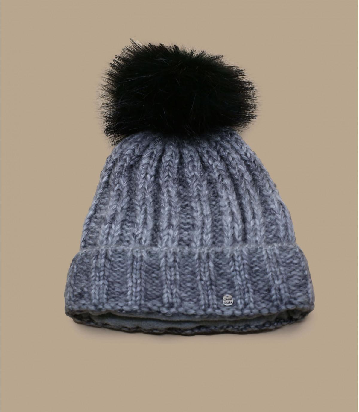 Graue Mütze schwarze Bommel