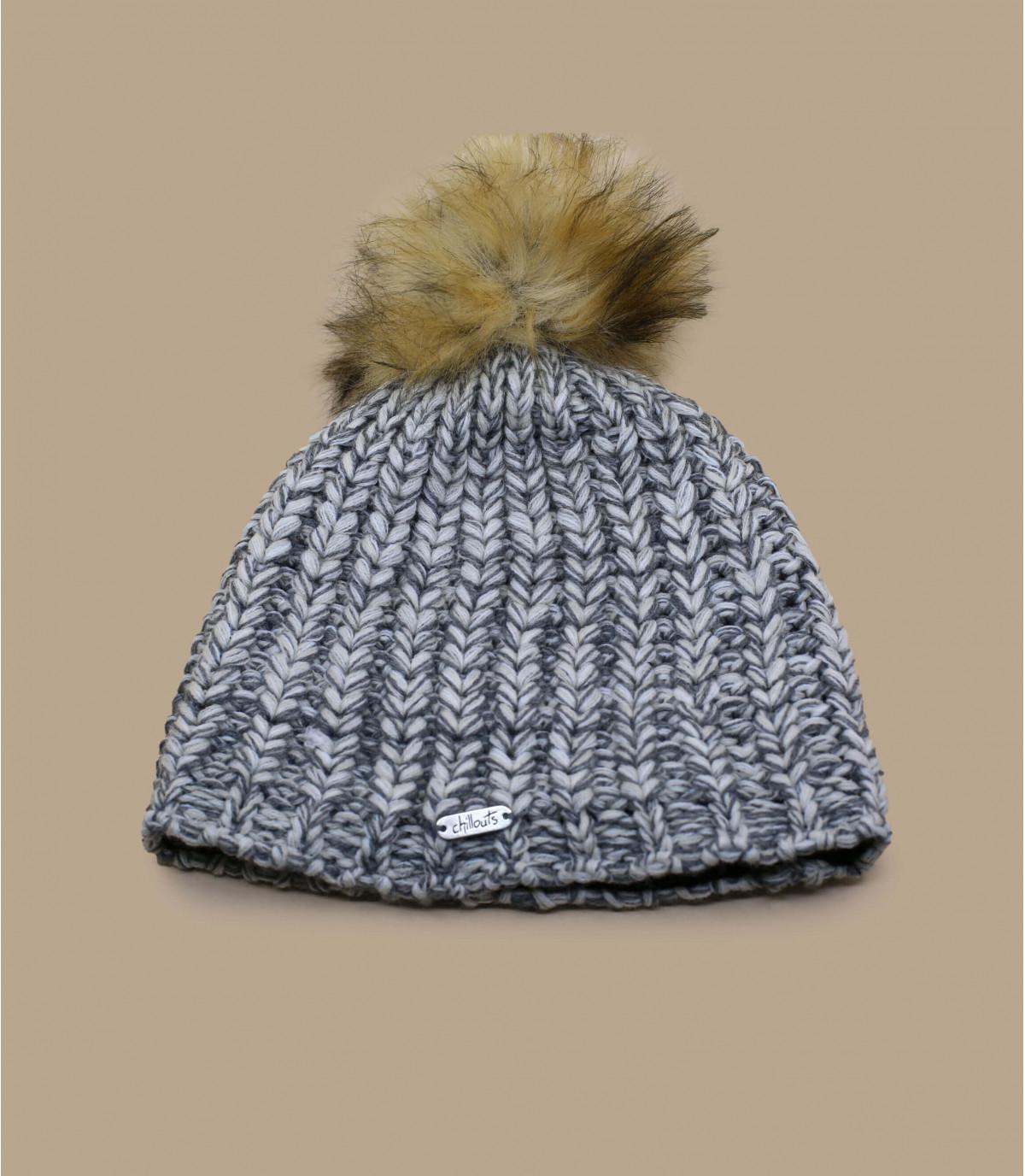 Mütze beige Fellbommel
