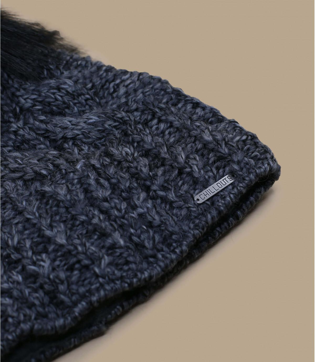 Bommelmütze grau Wolle