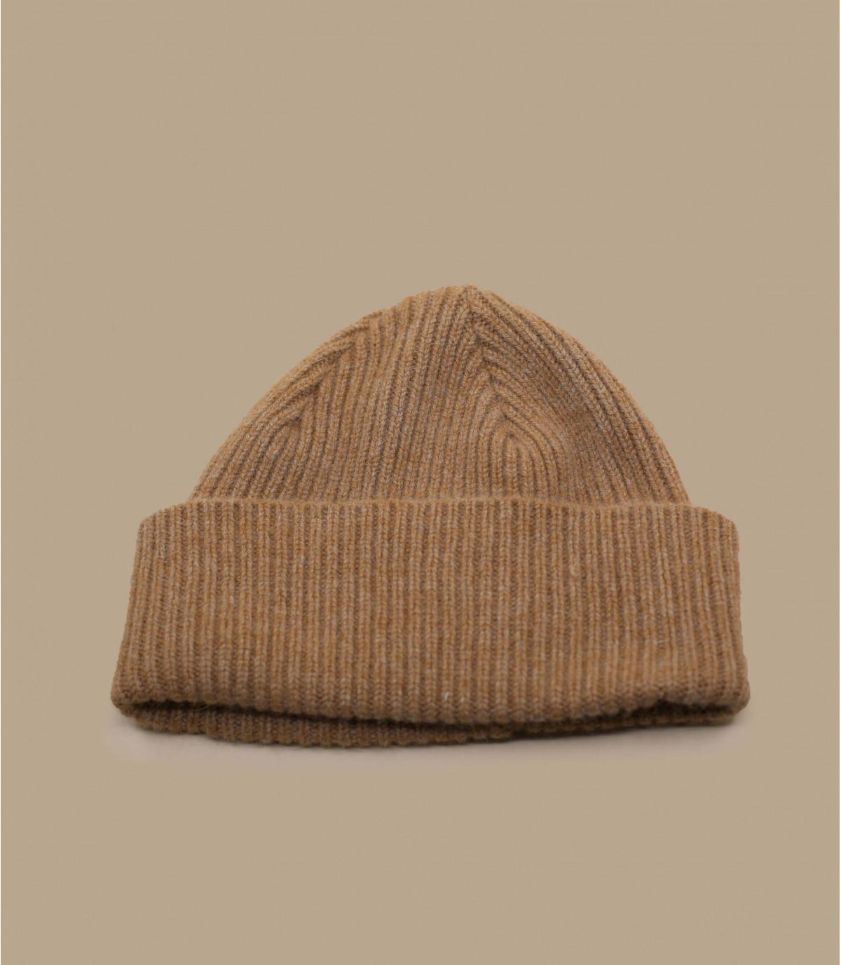 Beige Mütze Revers Wolle Angora
