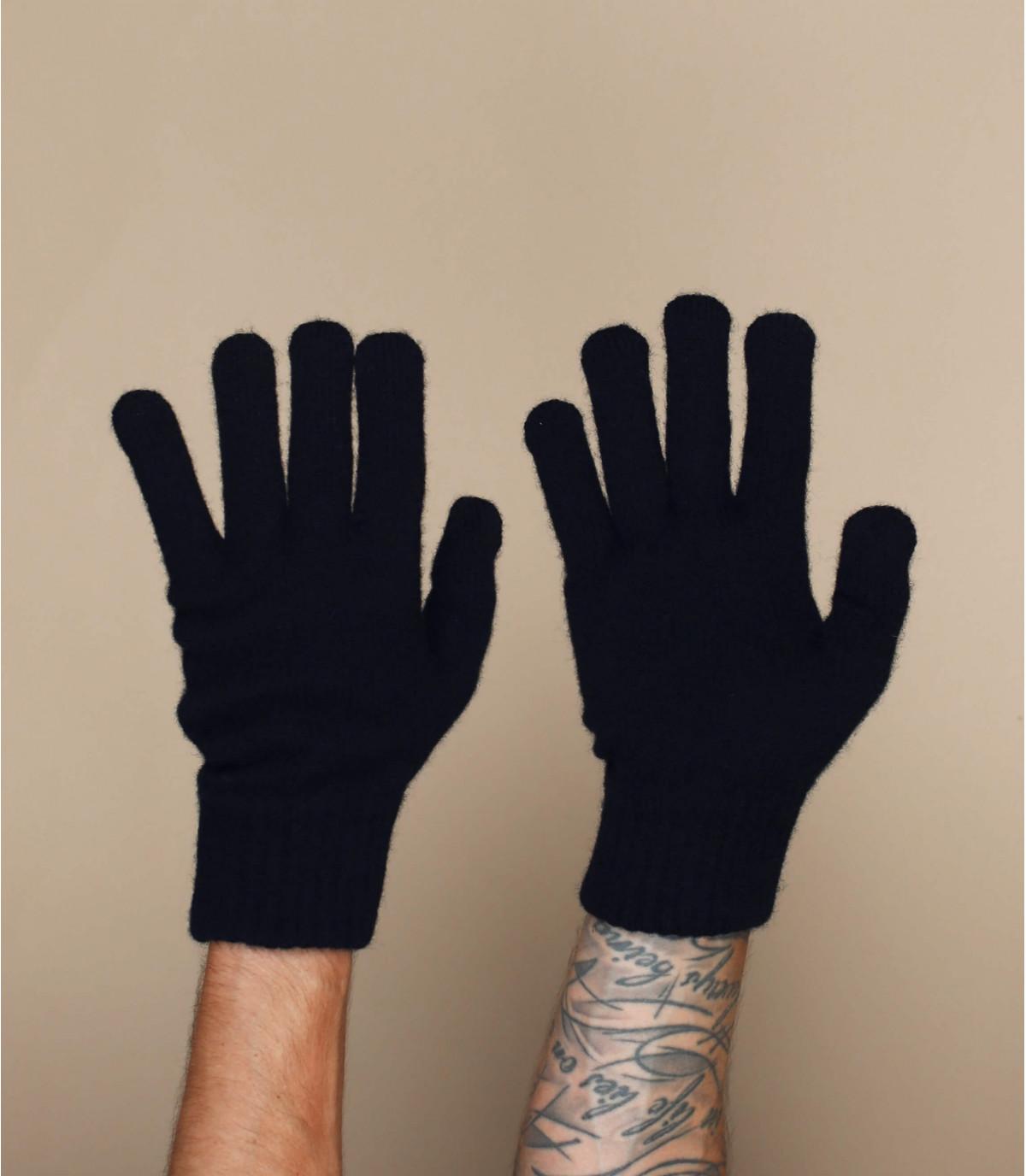 Handschuhe schwarz Wolle