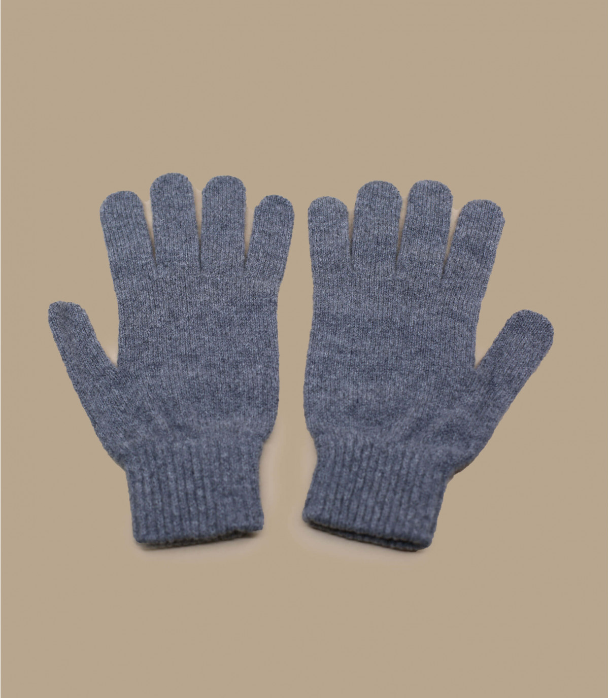 Handschuhe grau meliert Wolle