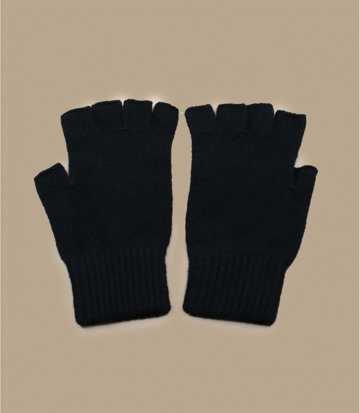 Halbfingerhandschuhe schwarz Wolle