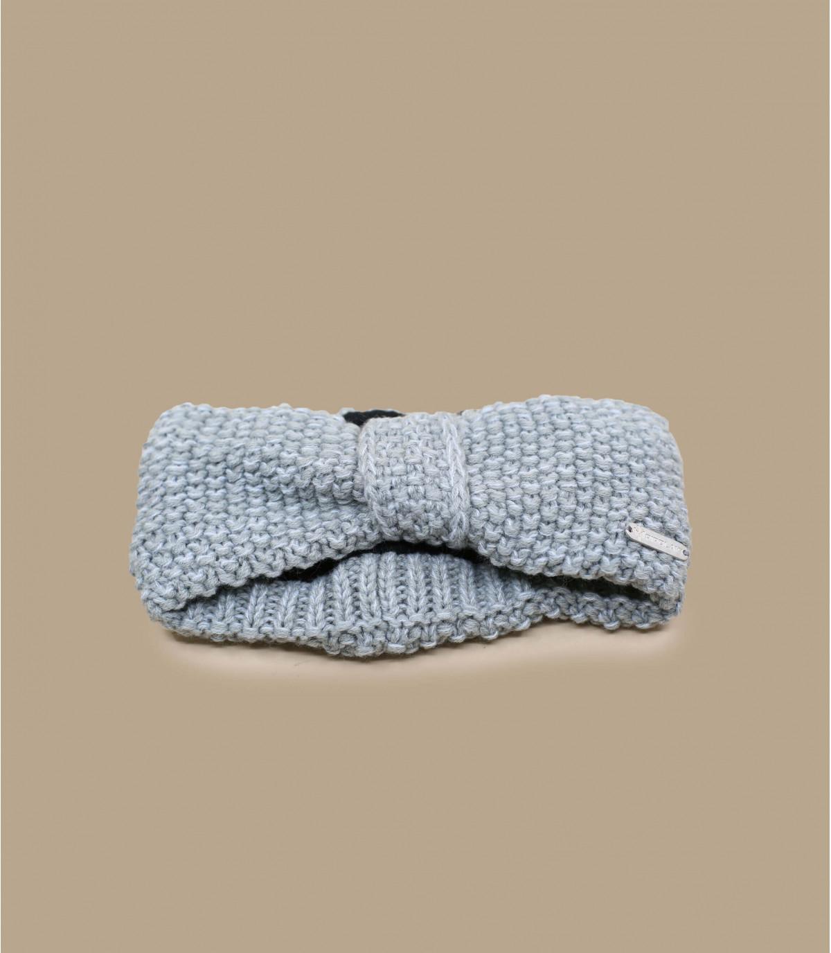 Stirnband gestrickt grau