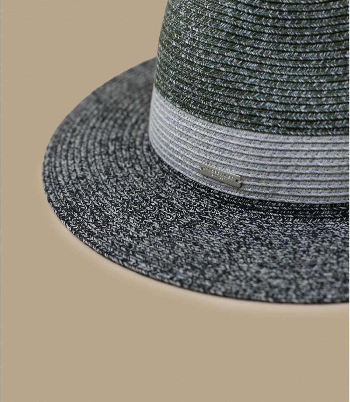 Strohhut schwarz Streifen grau