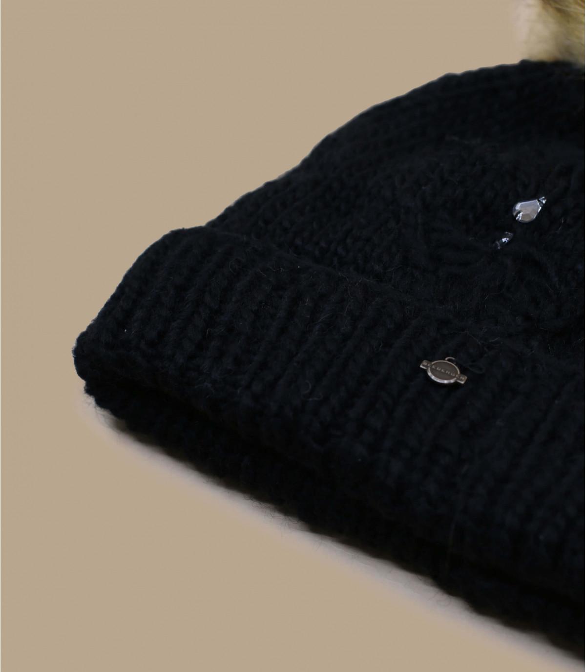 Details Strass Bommelmütze schwarz - Abbildung 3