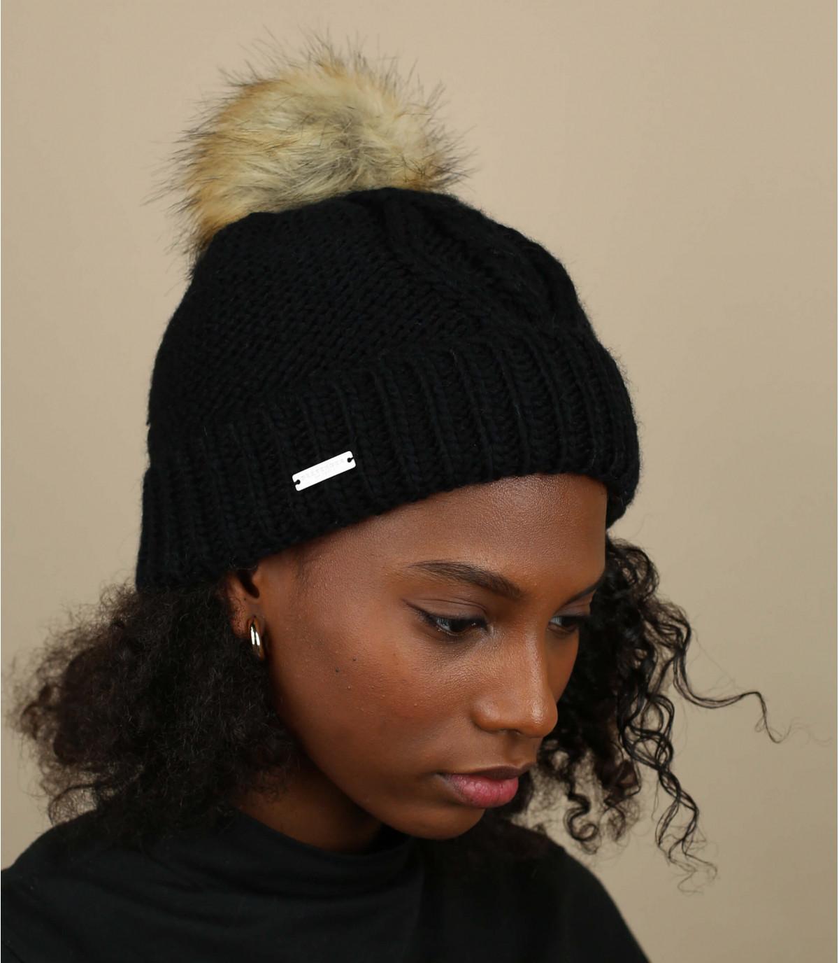 Mütze Revers schwarz Bommel
