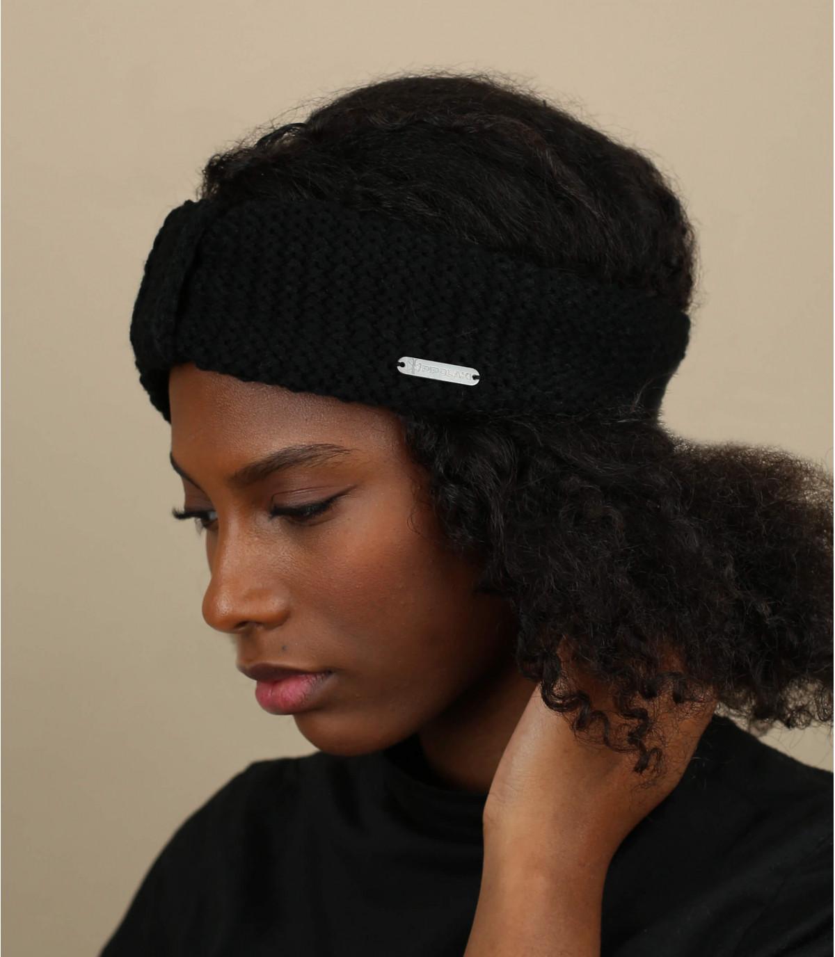 Stirnband gestrickt schwarz