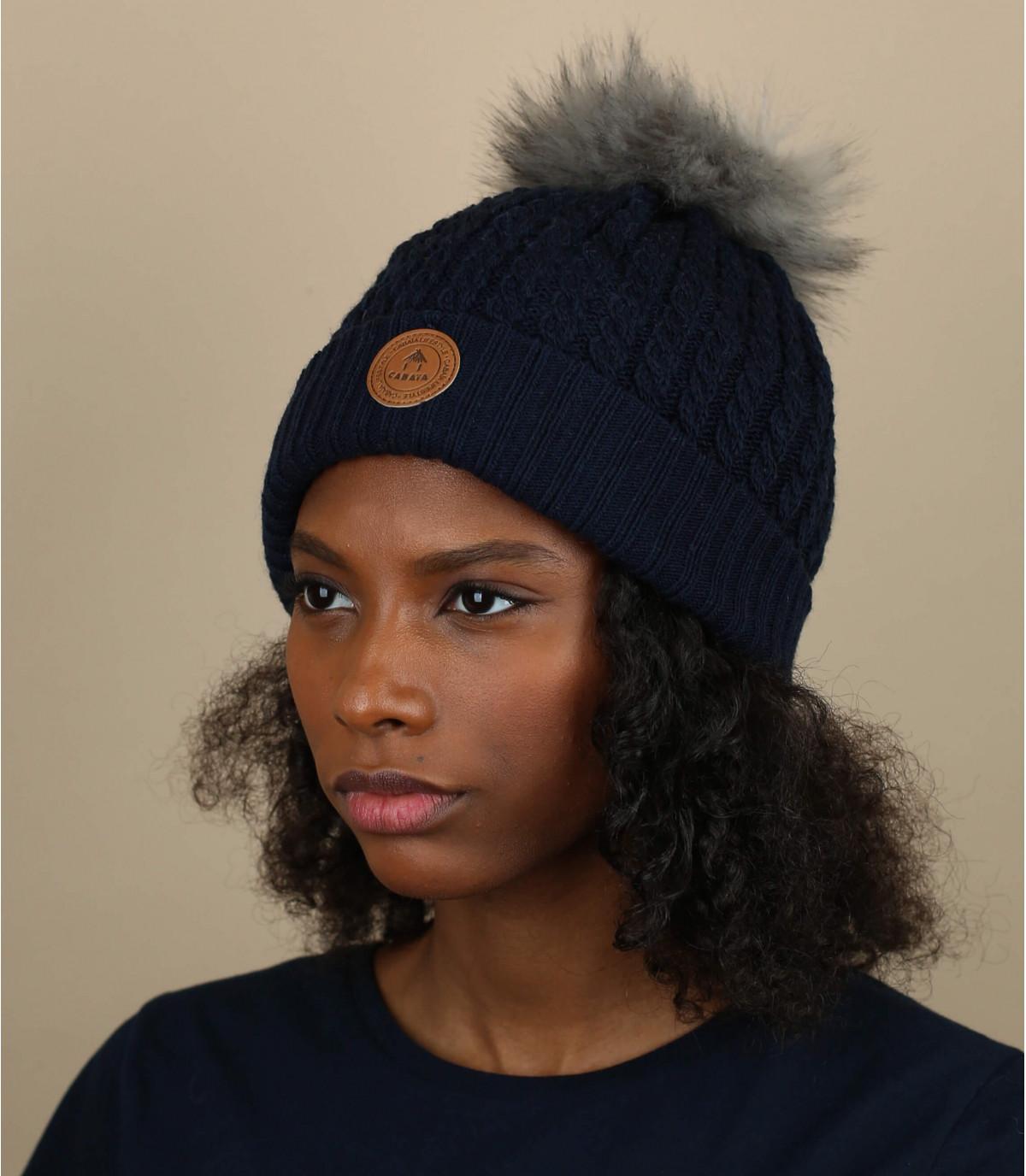Mütze blau Bommel austauschbar