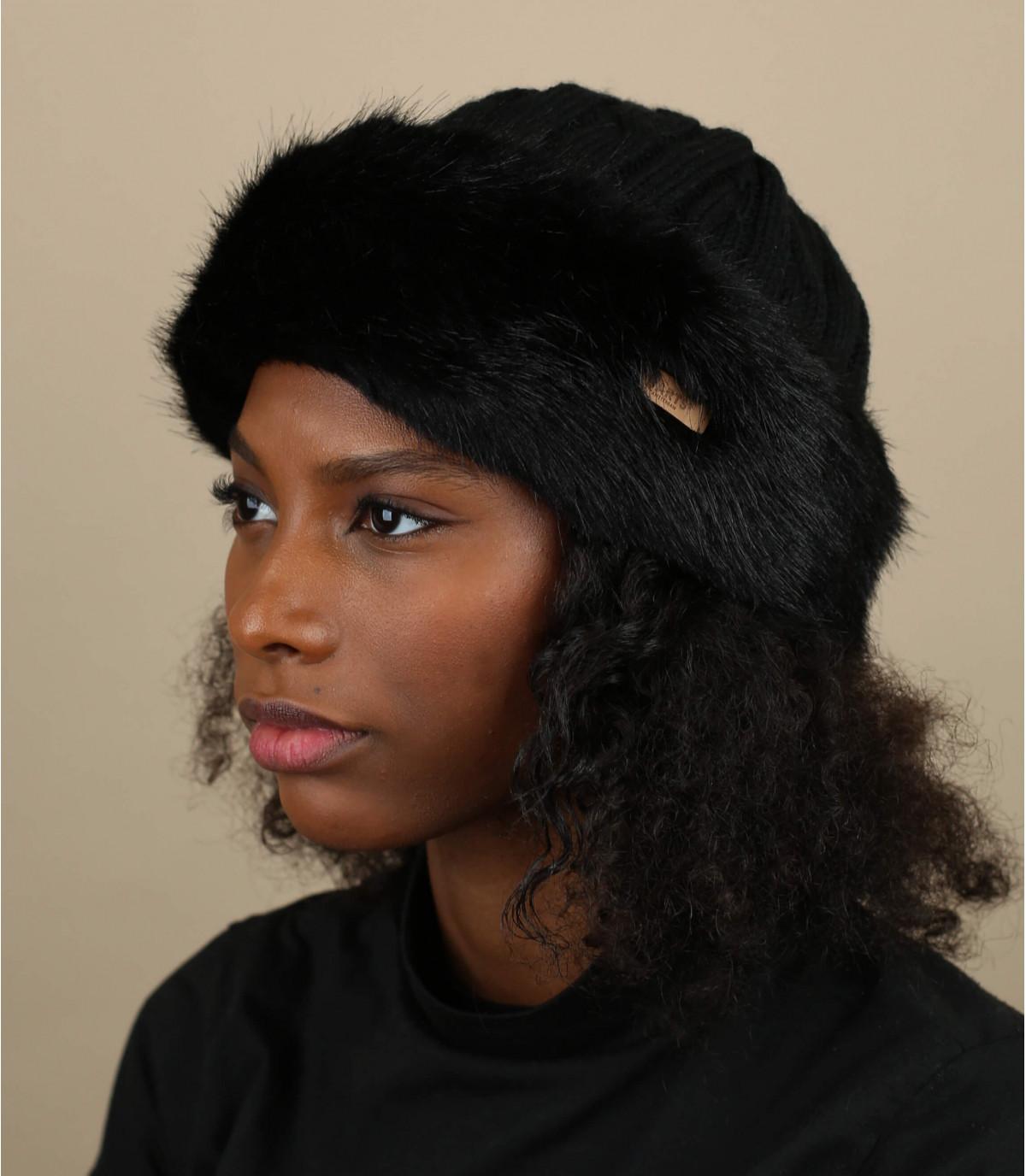 Schwarze Fellband head