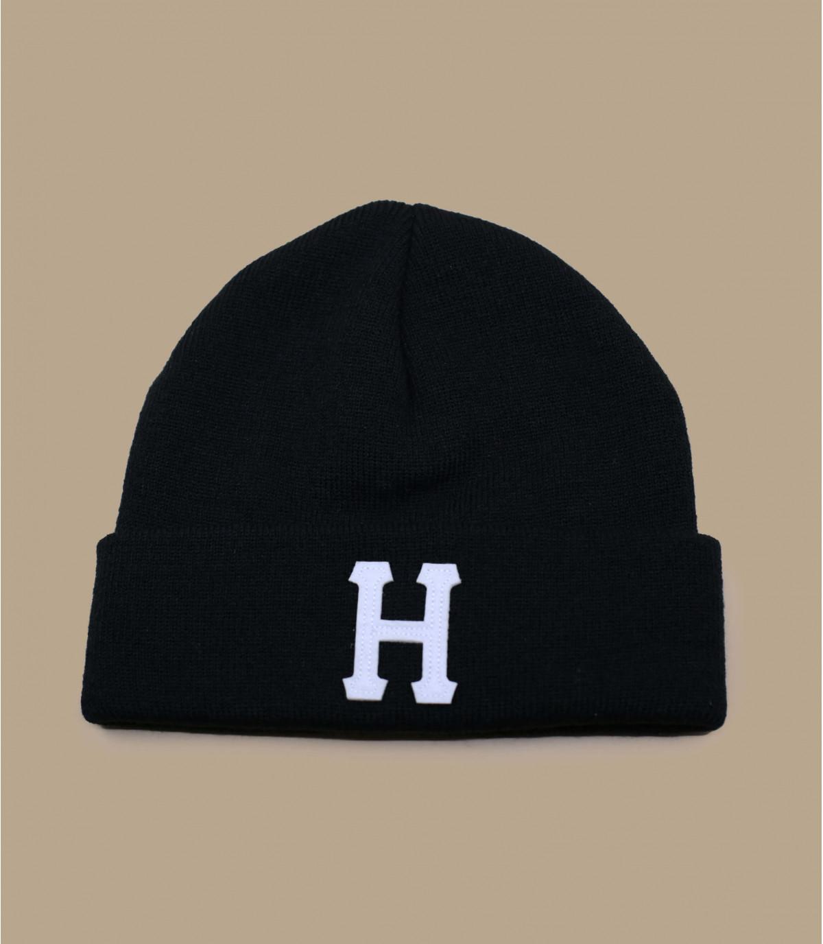 Schwarze Mütze mit Rand H