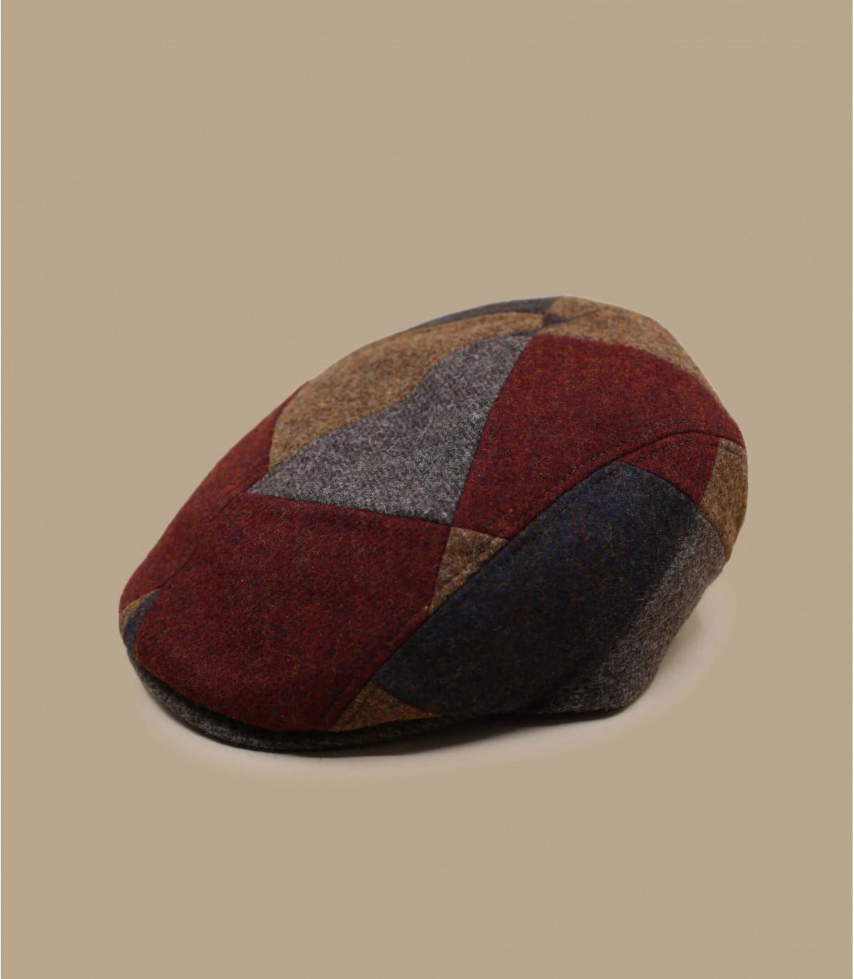 Schiebermütze Patchwork rot braun