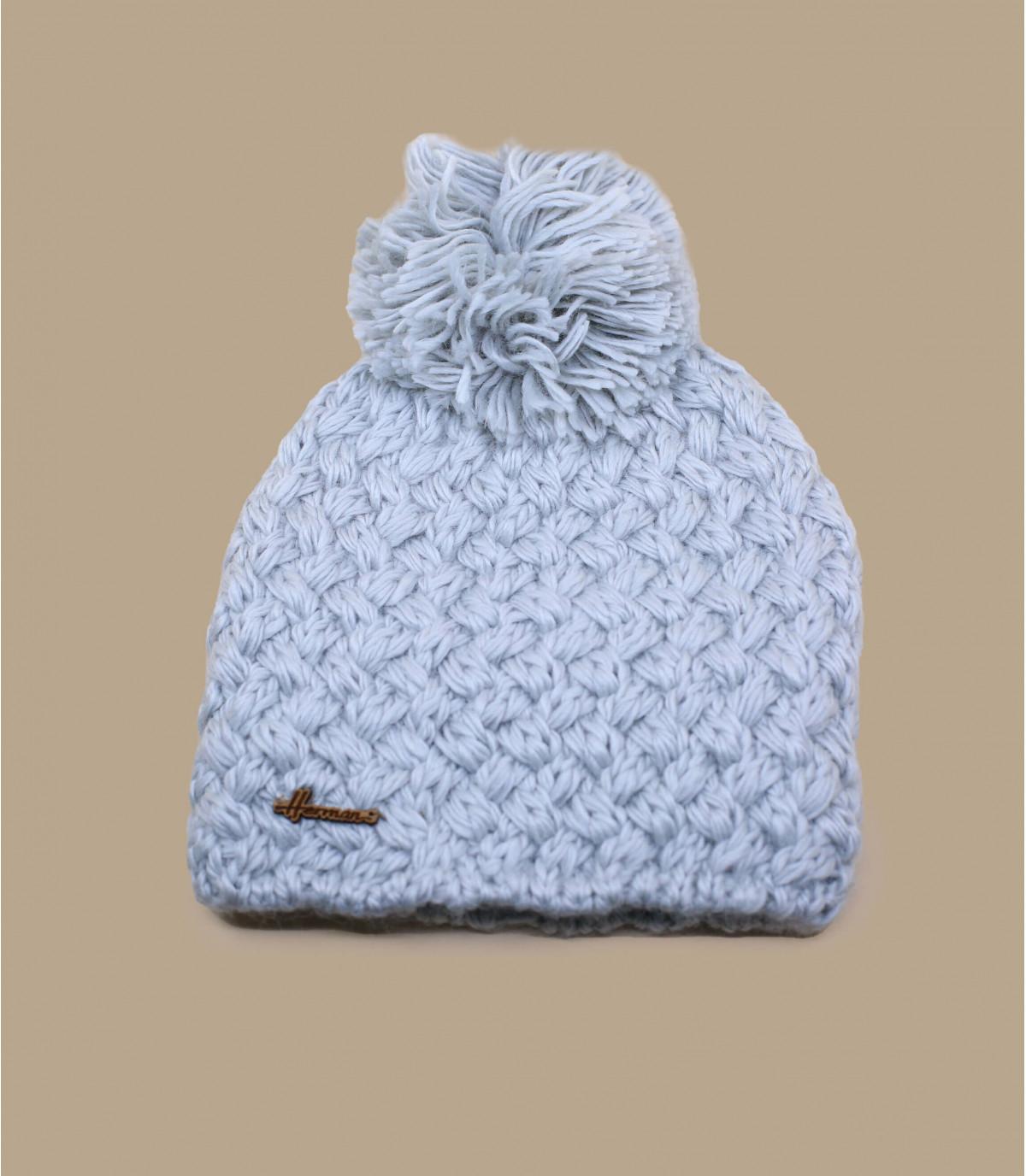 Bommelmütze Wolle Perlgrau