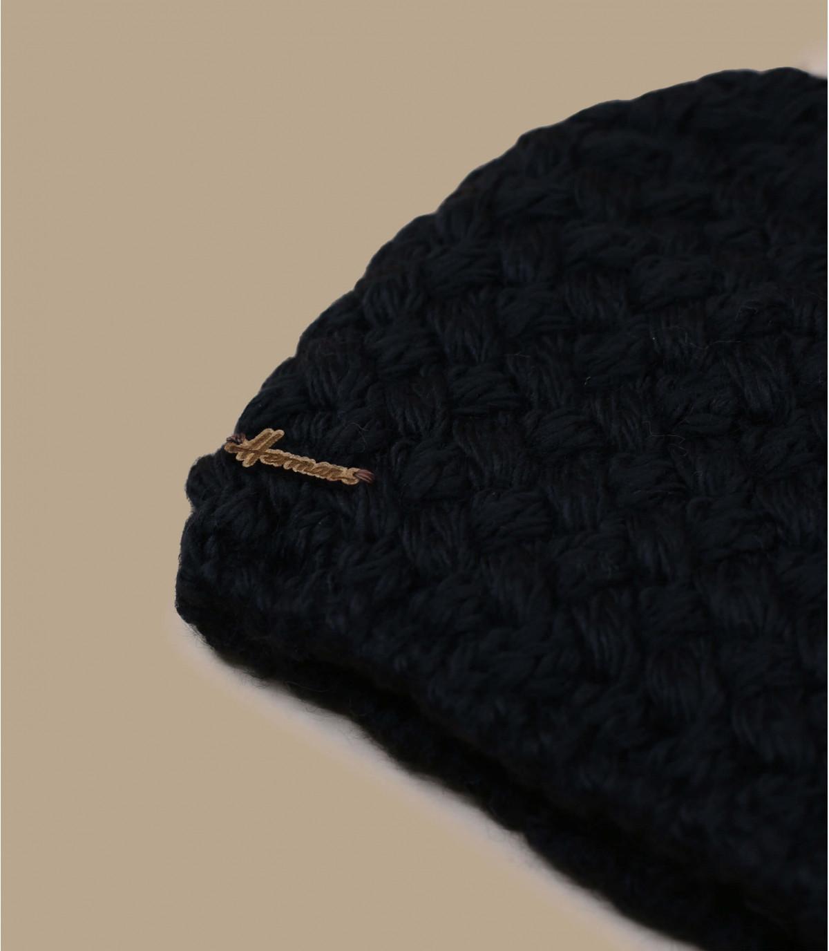 Schwarze Bommelmütze Wolle