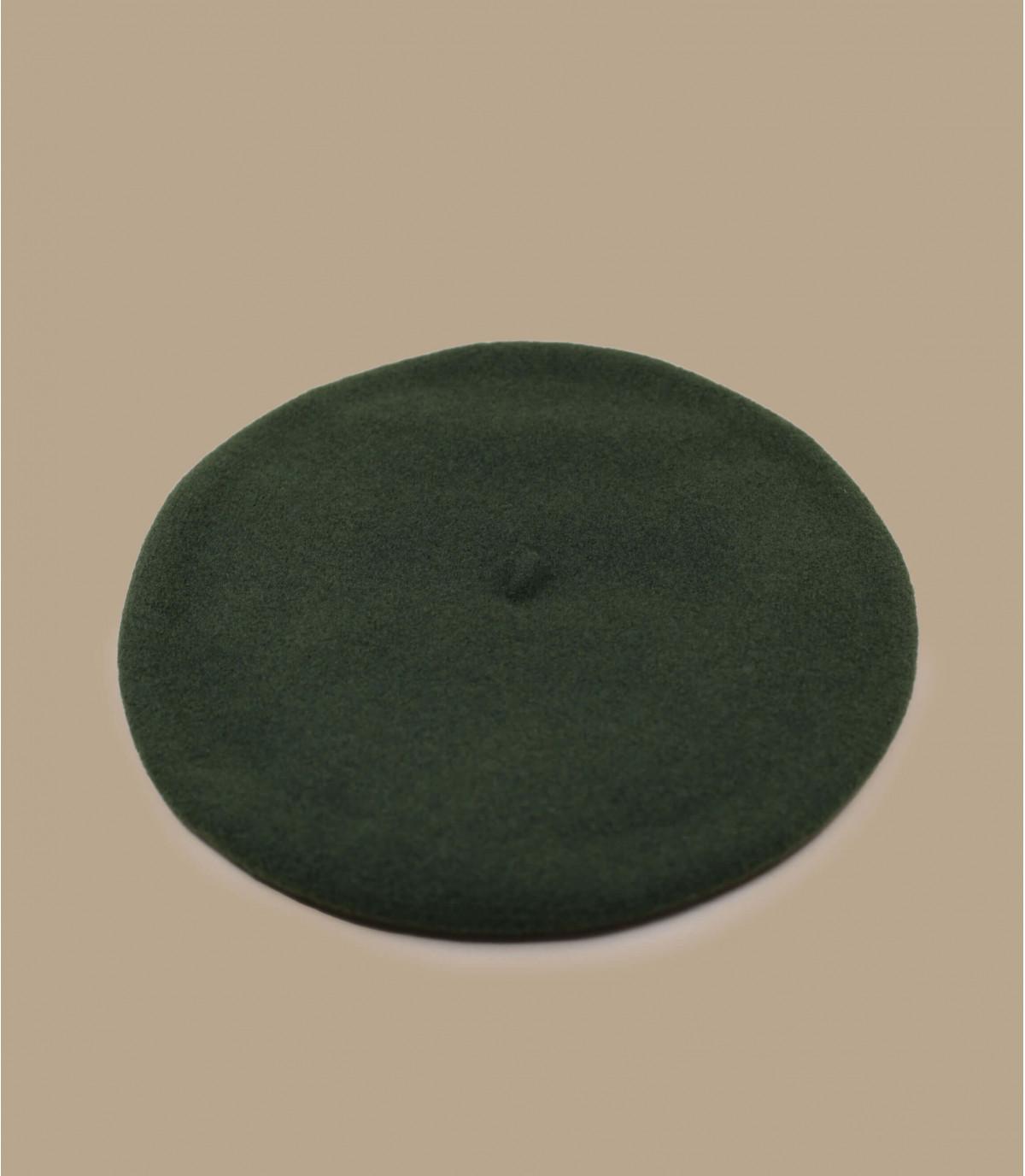 Baskenmütze Wolle gefüttert grün