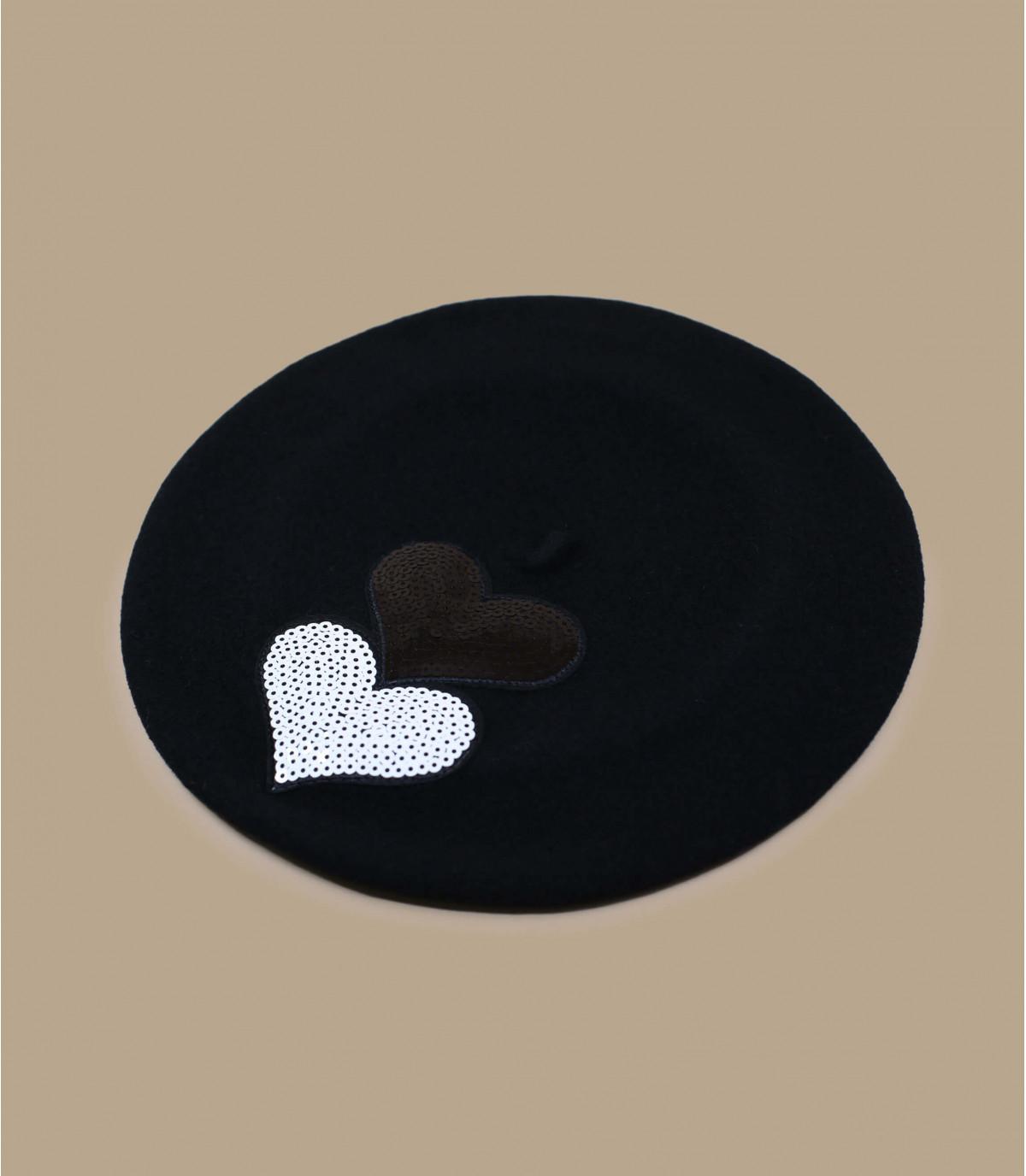 Barett Herz Paillette schwarz