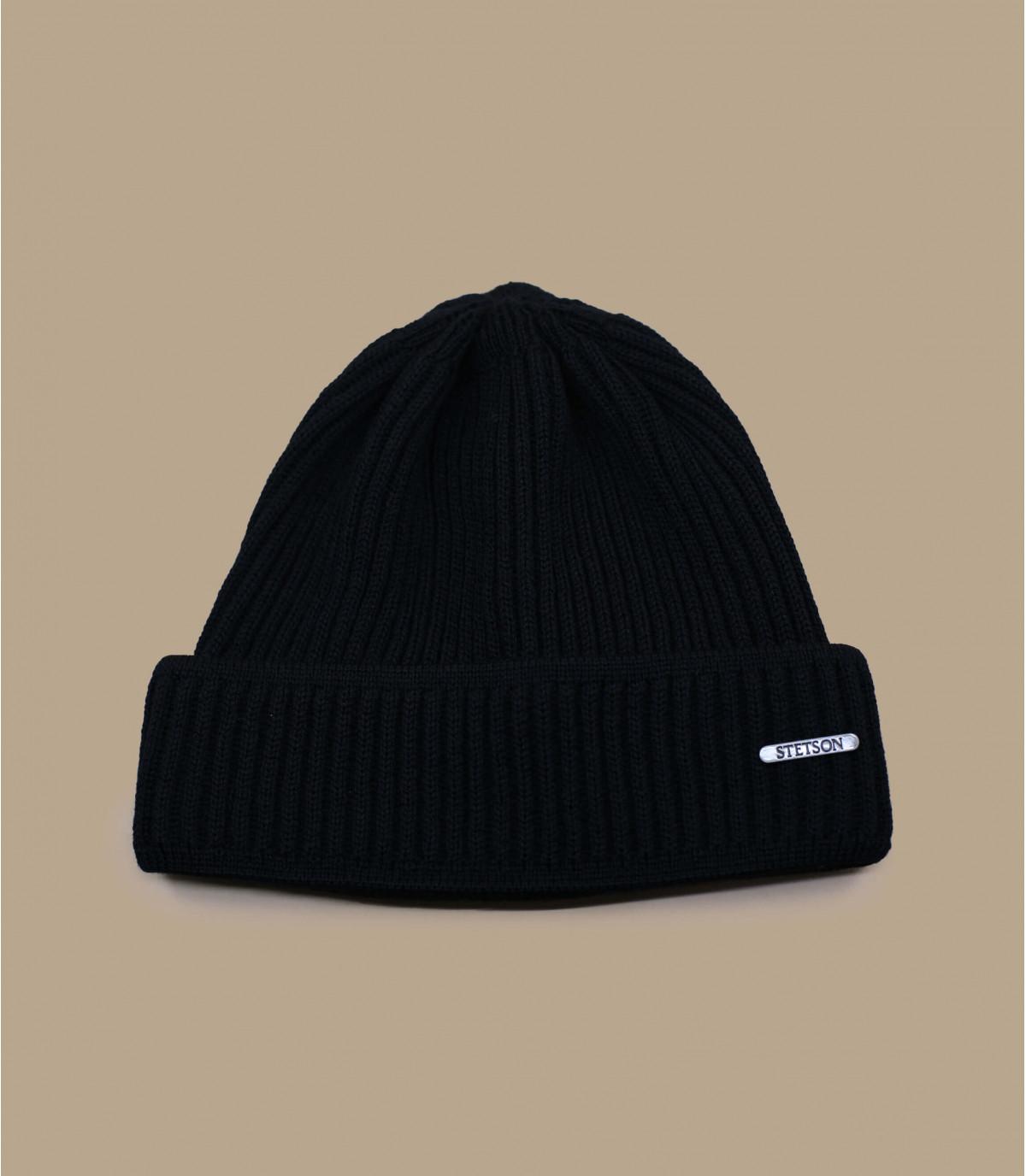 Mütze mit Rand schwarz Wolle