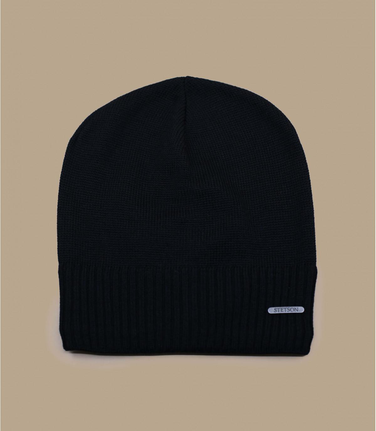 Oversize Mütze schwarz Merinowolle