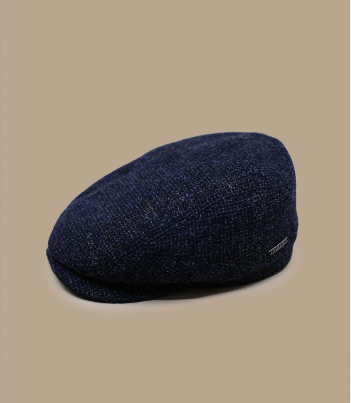 Flatcap Wolle blau