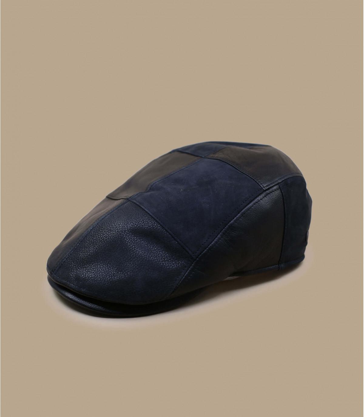 Schiebermütze Leder schwarz