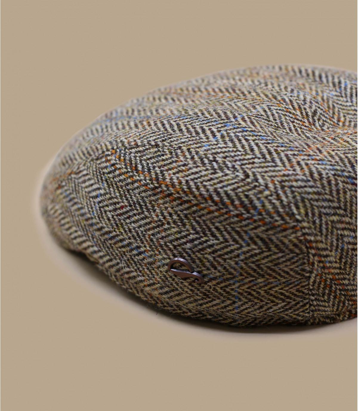 Schiebermütze beige Fischgrätmuster Wolle