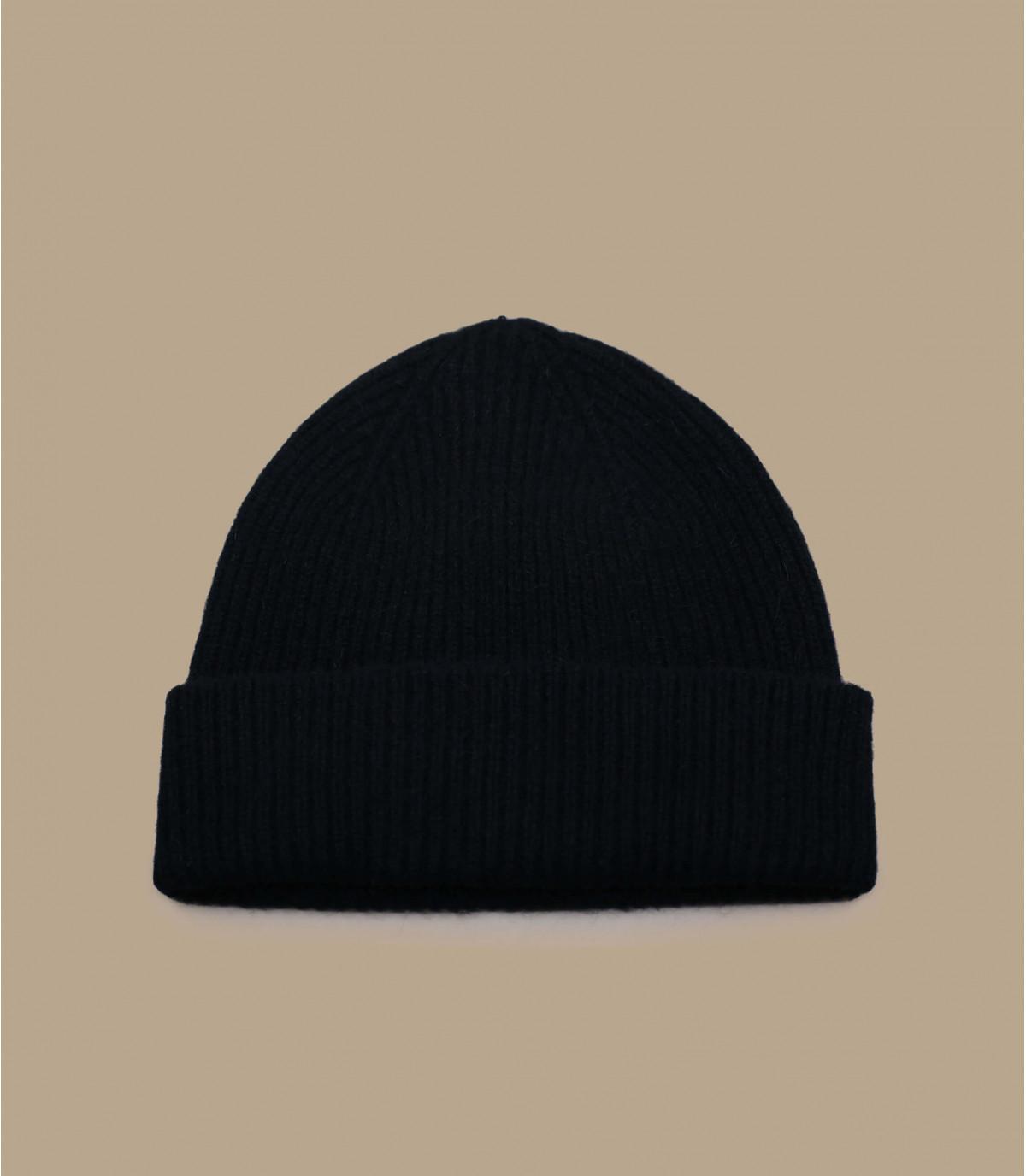 Mütze Rand Wolle Angora schwarz