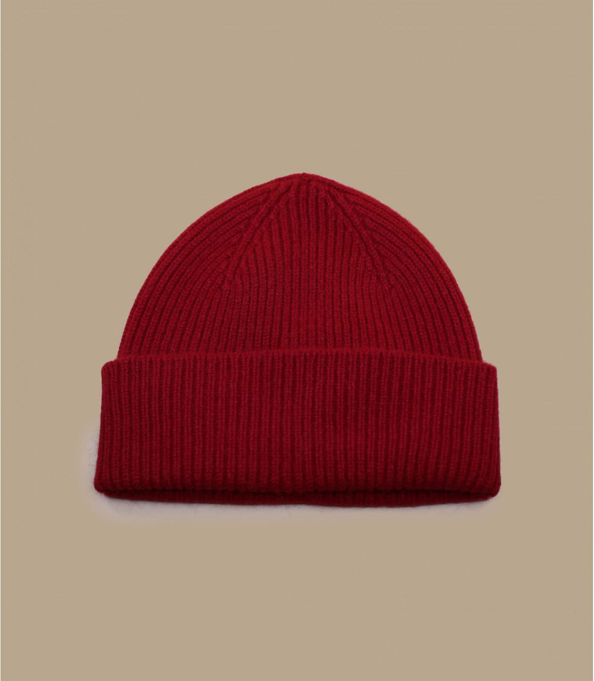 Rote Mütze Rand Wolle Angora