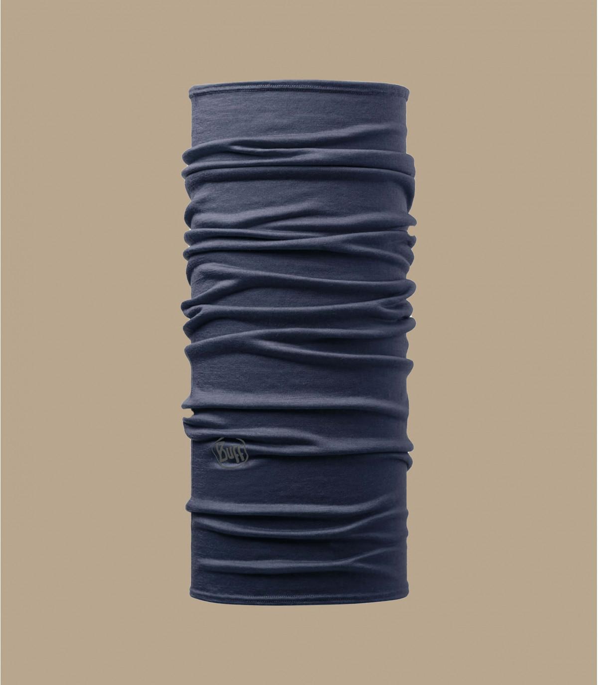 Schlauchschal Merinowolle blau Denim
