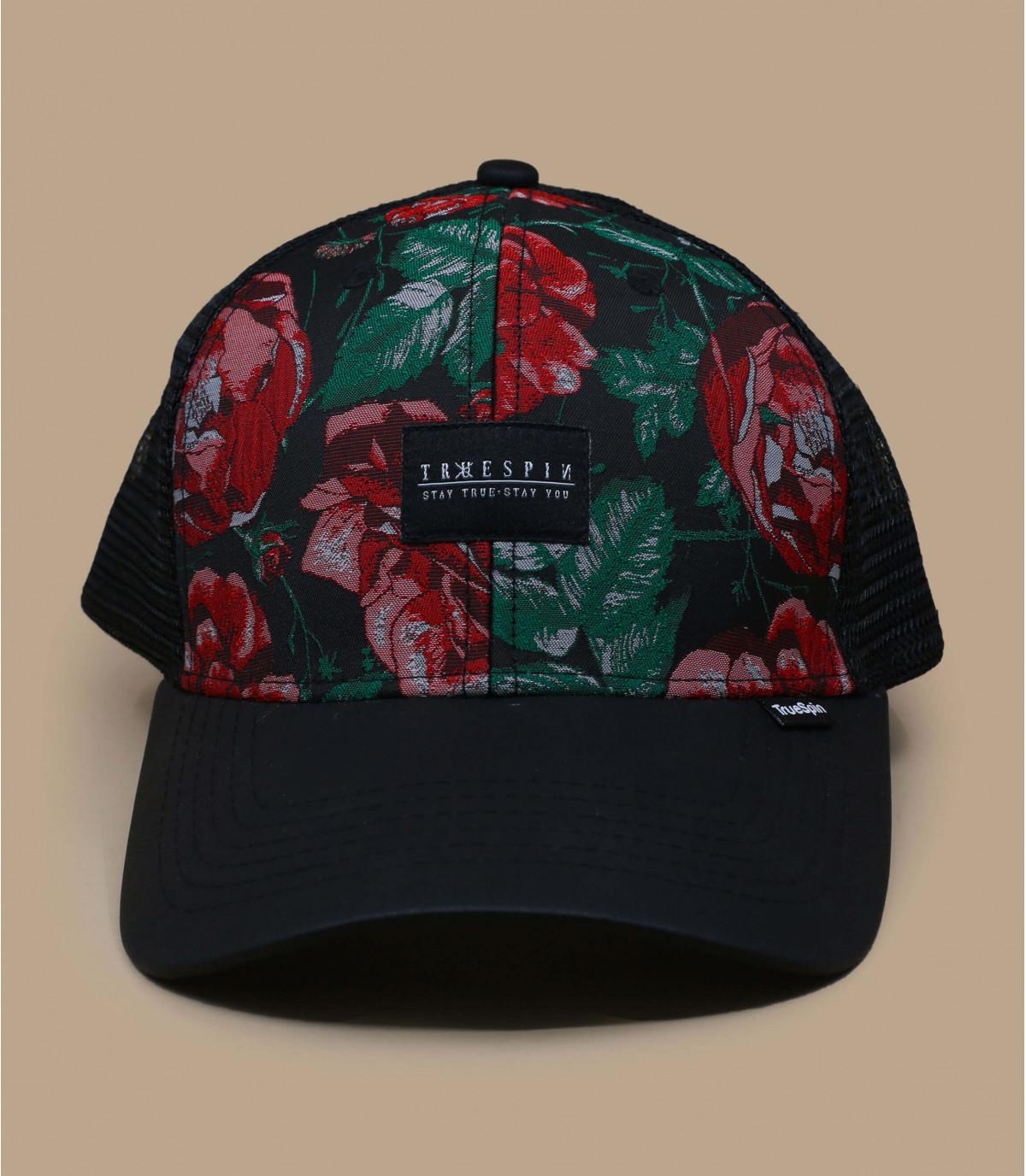Schwarze Trucker Cap Blumen