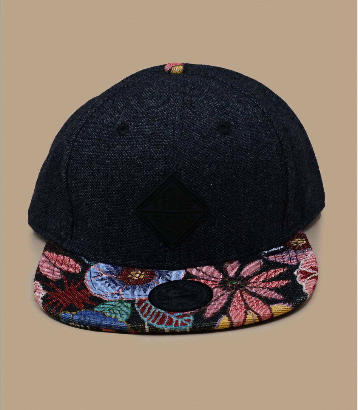 snapback schwarz Schirm Blumen