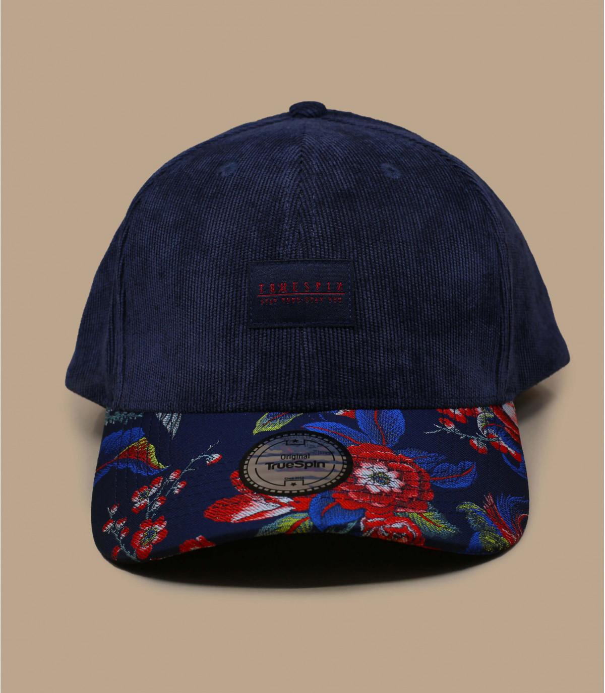 Kordsamt Cap blau Blumen
