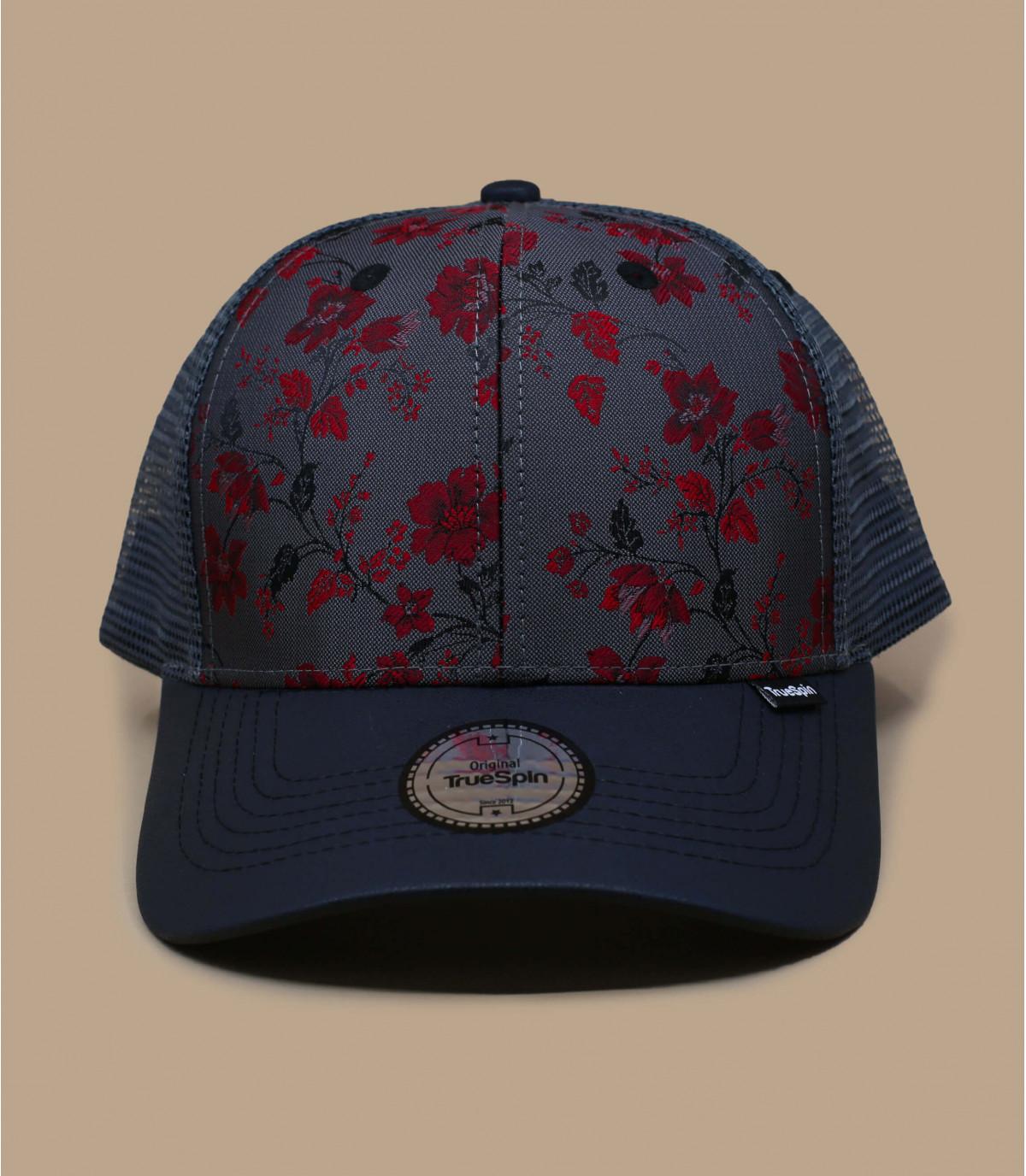Schwarze Trucker Cap  rote Blumen