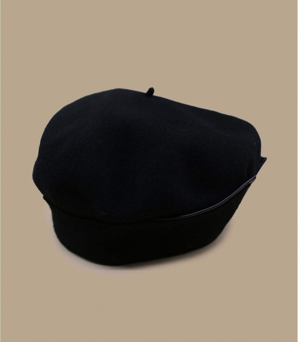 Barett Revers schwarz Leder