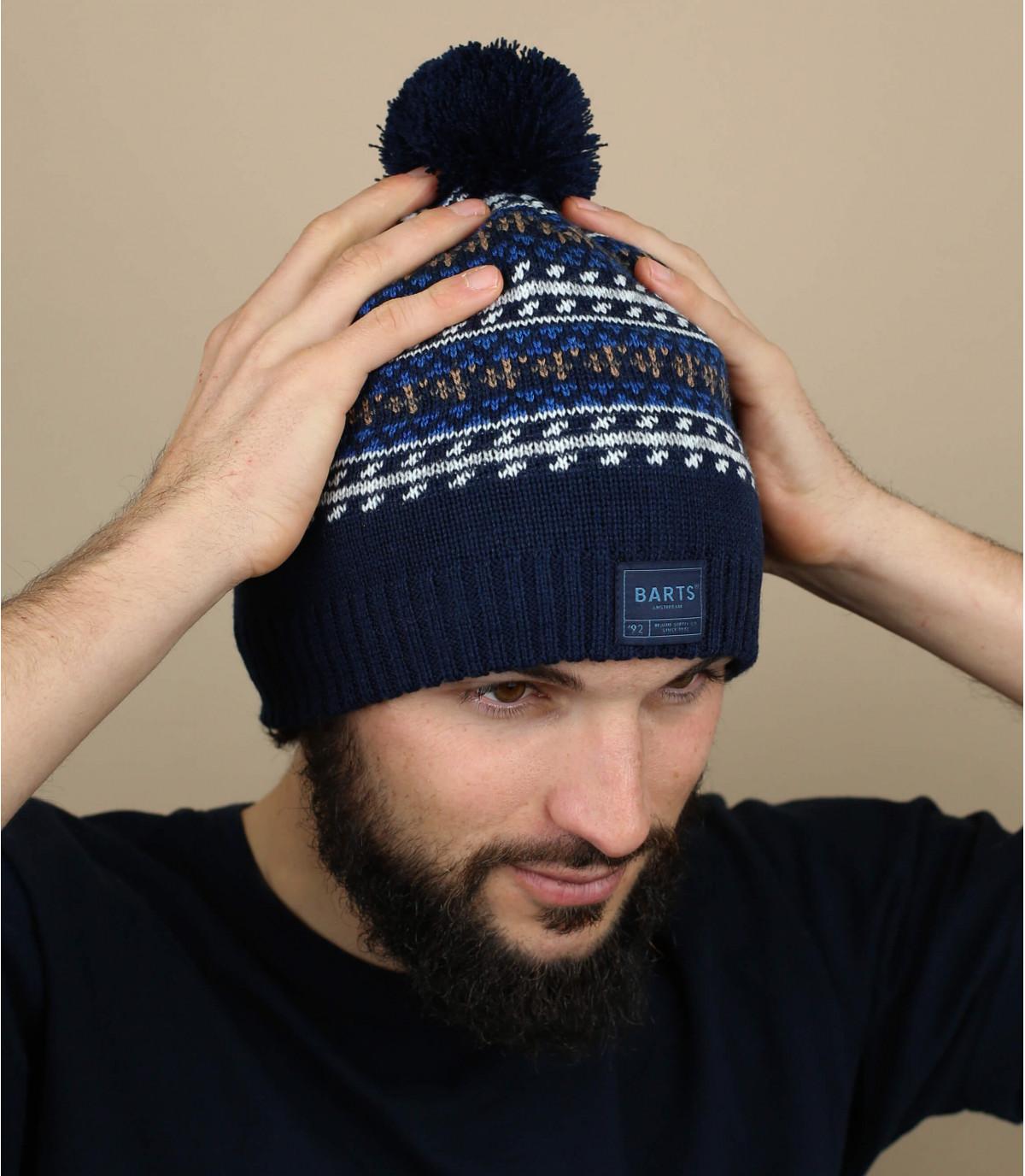Mütze blau Wolle