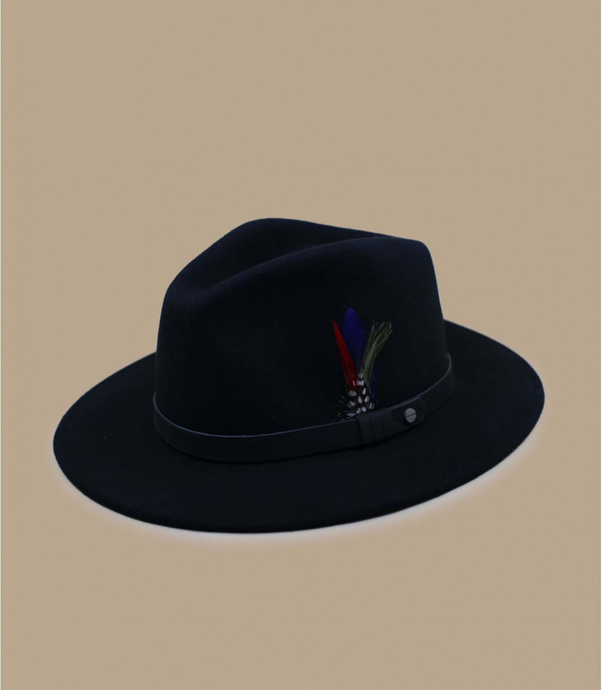 Fedora schwarz Feder Stetson