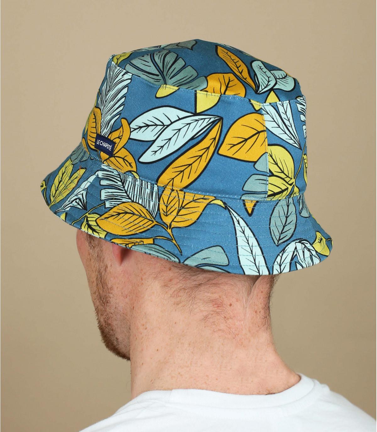Fischerhut blau gelber Print
