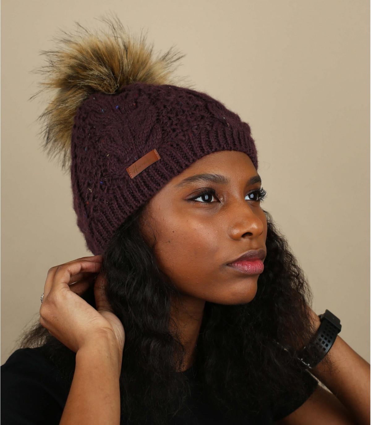 Mütze  violett Fellbommel