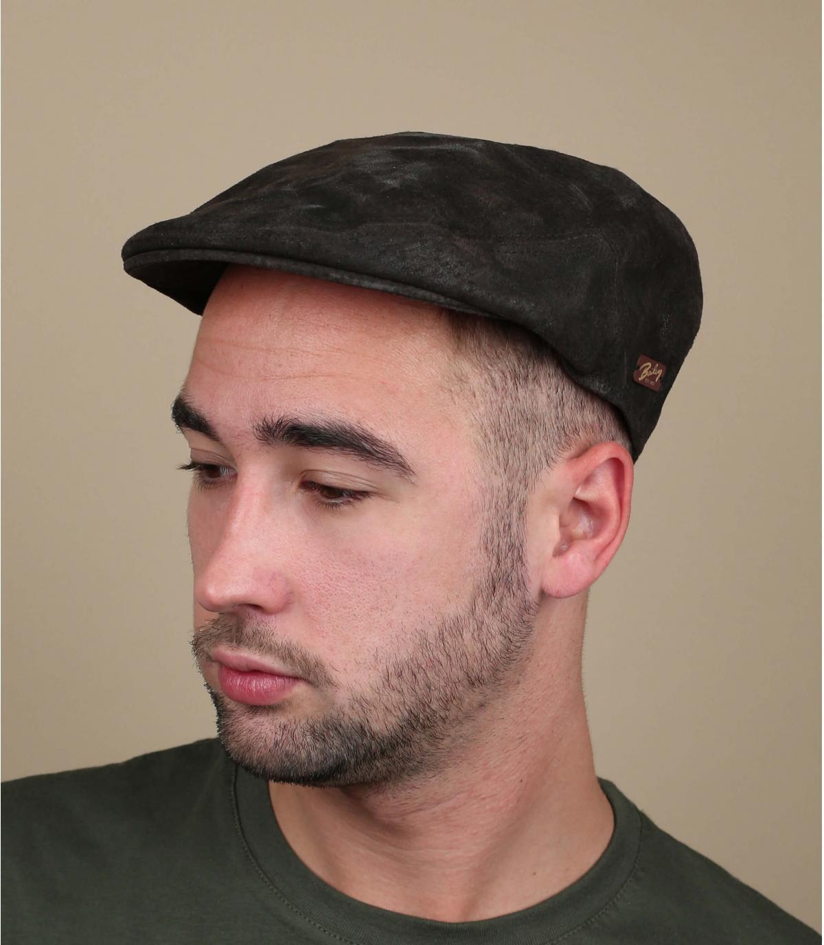 Flatcap Leder braun