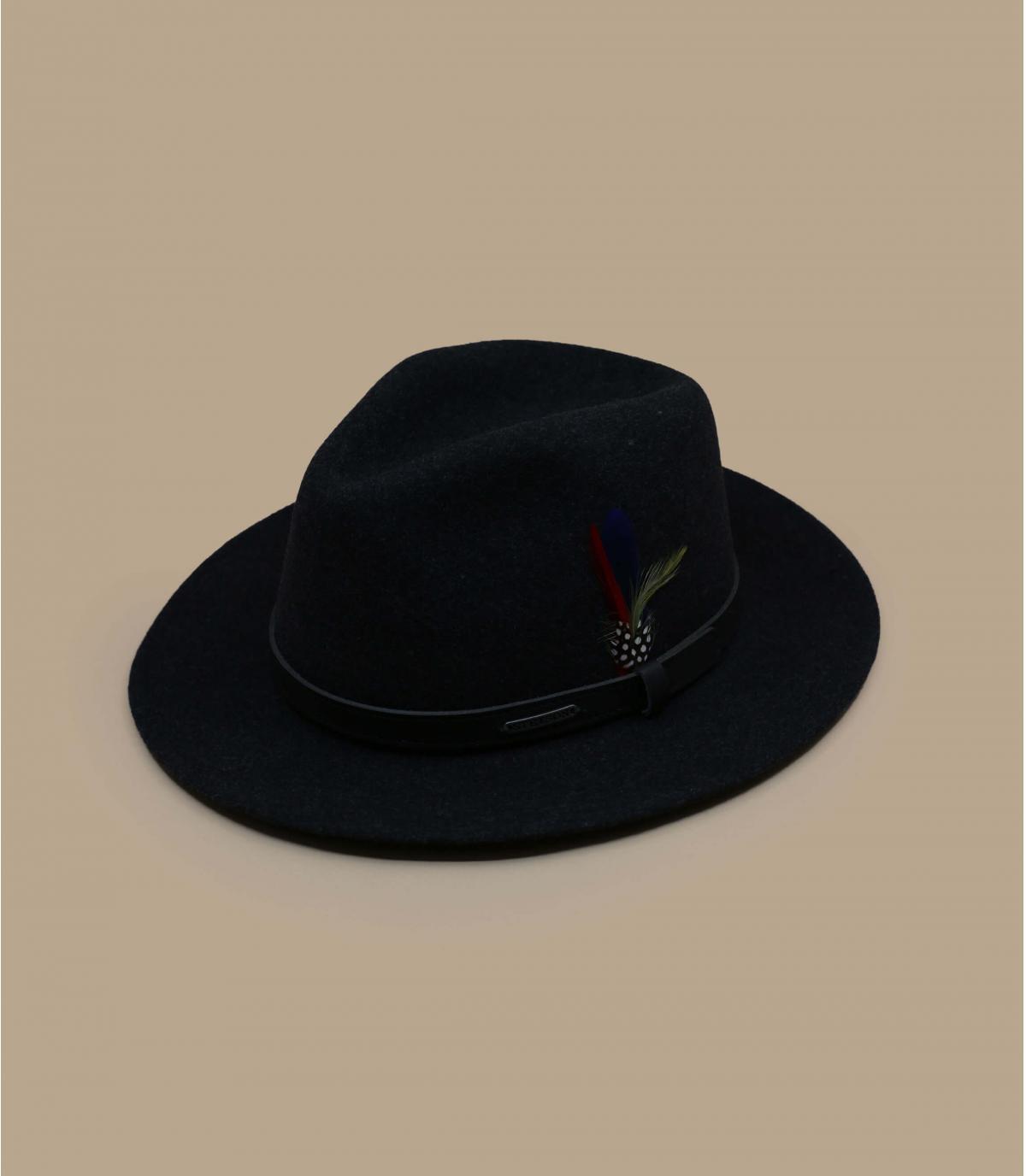 wasserabweisend Fedora Hut Wollfilz schwarz