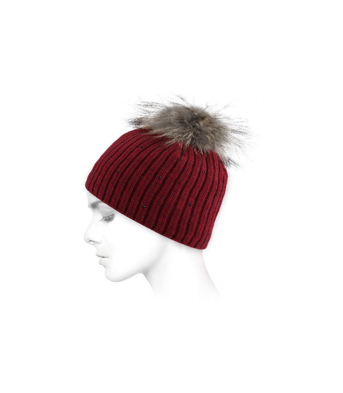 Mütze Bommelmütze rot Pelzbommel
